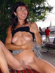 Perky slender wife nude outdoor, flashing pussy