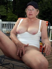Naked old woman fondles her..