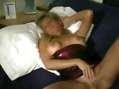 Kristin rubs her pussy After her husband leaves for work and the crumb grabbers are on the school bus the lovely blonde MILF Kristin takes a moment to relax on her bed massaging her giant hooters and during an upskirt youll see that shes rubbing her mostl