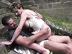 Old british lady gets hardcore outdoor sex