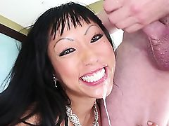 Foxy asian milf sex and sloppy blowjob