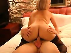 Blonde In Stockings Having Sex On The Bed