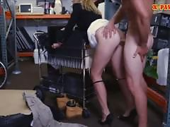 Hot blonde milf pawns her pussy and nailed at the pawnshop