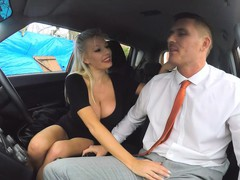 Busty blonde examinee gets her pussy fucked by examiner
